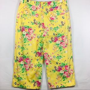 Ralph Lauren Pants - Ralph Lauren Yellow Floral Crop Pants